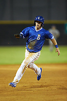 Eric Cole (2) of the Burlington Royals hustles towards third base against the Kingsport Mets at Burlington Athletic Stadium on July 27, 2018 in Burlington, North Carolina. The Mets defeated the Royals 8-0.  (Brian Westerholt/Four Seam Images)
