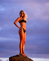 Beautiful Bikini Swimsuit Girl, Kaena Point, Oahu, Hawaii, USA.