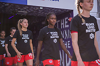 ORLANDO, FL - FEBRUARY 24: Rylee Foster #12 of the CANWNT walks out of the tunnel before a game between Brazil and Canada at Exploria Stadium on February 24, 2021 in Orlando, Florida.