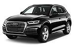 2018 Audi Q5 Design 5 Door SUV angular front stock photos of front three quarter view
