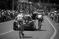 Jérome Pineau (FRA) assisted along the way <br /> <br /> stage 10: Saint-Gildas-des-Bois to Saint-Malo<br /> 197km