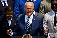 United States President Joe Biden makes remarks welcoming the 2021 the Super Bowl LV (Super Bowl 55) Champion Tampa Bay Buccaneers to the White House in Washington, D.C. on July 20, 2021.  The event marked the first visit to the White House by the reigning Super Bowl champions in four years.<br /> CAP/MPI/RS<br /> ©RS/MPI/Capital Pictures