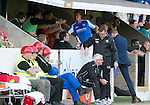 St Johnstone v Celtic....15.09.12      SPL  .Rowan Vine gets high fives in the dug out after being subbed.Picture by Graeme Hart..Copyright Perthshire Picture Agency.Tel: 01738 623350  Mobile: 07990 594431