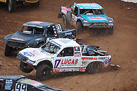 Mar. 20, 2011; Chandler, AZ, USA;  LOORRS pro four driver Carl Renezeder (17) leads Steve Barlow (83) and Curt LeDuc during round two at Firebird International Raceway. Mandatory Credit: Mark J. Rebilas-