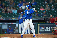 Ryan Johnson (28) of the Kentucky Wildcats at bat against the Louisiana Ragin' Cajuns in game seven of the 2018 Shriners Hospitals for Children College Classic at Minute Maid Park on March 4, 2018 in Houston, Texas.  The Wildcats defeated the Ragin' Cajuns 10-4. (Brian Westerholt/Four Seam Images)