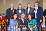 Dingle Rowing club Lisa Hutchinson, Colleen O'Connor, Emma Graham. Back row: tom, Killian Francis Hutchson and Con Begley at the Kerry Sports awards show in the Gleneagle Hotel on Friday night