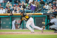 Carlos Perez (20) of the Salt Lake Bees at bat against the Sacramento River Cats in Pacific Coast League action at Smith's Ballpark on April 20, 2015 in Salt Lake City, Utah.  (Stephen Smith/Four Seam Images)