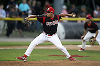 Batavia Muckdogs pitcher Daniel Miranda #40 delivers a pitch during a game against the Mahoning Valley Scrappers at Dwyer Stadium on July 5, 2011 in Batavia, New York.  Batavia defeated Mahoning Valley 2-1.  (Mike Janes/Four Seam Images)