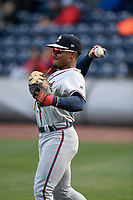 Center fielder Justin Dean (5) of the Rome Braves warms up before a game against the Greenville Drive on Saturday, April 20, 2019, at Fluor Field at the West End in Greenville, South Carolina. Rome won, 5-4. (Tom Priddy/Four Seam Images)