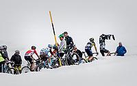 Lukas Pöstlberger (AUT/Bora-Hansgrohe) putting his jacket on before the top of the Passo dello Stelvio (alt: 2758m)<br /> <br /> Stage 16: Rovett › Bormio (222km)<br /> 100th Giro d'Italia 2017