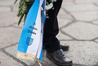 """Angehoerige der russischen Streitkraefte, und Berliner Russen begingen am Montag den 23. Februar 2015 den sog. """"Tag des Befreiers des Vaterlandes"""" (frueher """"Tag des Rotarmisten"""" und """"Tag der sowjetischen Streitkraefte"""") am sowjetischen Ehrenmal in Berlin-Treptow. Der Feiertag geht auf den """"Befehl 95"""" des Revolutionsfuehres Lenin zurueck.<br /> Im Bild: Eine Schleife an einem Gedenkkranz des Landrats Seelow/Brandenburg.<br /> 23.2.2015, Berlin<br /> Copyright: Christian-Ditsch.de<br /> [Inhaltsveraendernde Manipulation des Fotos nur nach ausdruecklicher Genehmigung des Fotografen. Vereinbarungen ueber Abtretung von Persoenlichkeitsrechten/Model Release der abgebildeten Person/Personen liegen nicht vor. NO MODEL RELEASE! Nur fuer Redaktionelle Zwecke. Don't publish without copyright Christian-Ditsch.de, Veroeffentlichung nur mit Fotografennennung, sowie gegen Honorar, MwSt. und Beleg. Konto: I N G - D i B a, IBAN DE58500105175400192269, BIC INGDDEFFXXX, Kontakt: post@christian-ditsch.de<br /> Bei der Bearbeitung der Dateiinformationen darf die Urheberkennzeichnung in den EXIF- und  IPTC-Daten nicht entfernt werden, diese sind in digitalen Medien nach §95c UrhG rechtlich geschuetzt. Der Urhebervermerk wird gemaess §13 UrhG verlangt.]"""