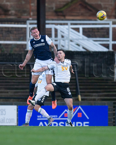 21st November 2020; Somerset Park, Ayr, South Ayrshire, Scotland; Scottish Championship Football, Ayr United versus Dundee FC; Lee Ashcroft of Dundee competes in the air with Michael Miller of Ayr United