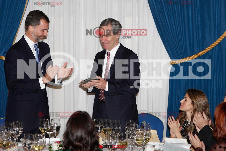 Prince Felipe of Spain, Michael Ignatieff and Princess Letizia of Spain attend the 'Francisco Cerecedo Journalism Award' ceremony at the Ritz Hotel in Madrid. November 20, 2012. (ALTERPHOTOS/Caro Marin) /NortePhoto