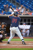 Bowing Green Hot Rods first baseman Kewby Meyer (24) at bat during a game against the Quad Cities River Bandits on July 24, 2016 at Modern Woodmen Park in Davenport, Iowa.  Quad Cities defeated Bowling Green 6-5.  (Mike Janes/Four Seam Images)