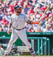 20 September 2015: Miami Marlins outfielder Marcell Ozuna in action against the Washington Nationals at Nationals Park in Washington, DC. The Marlins fell to the Nationals 13-3 in the final game of their 4-game series. Mandatory Credit: Ed Wolfstein Photo *** RAW (NEF) Image File Available ***