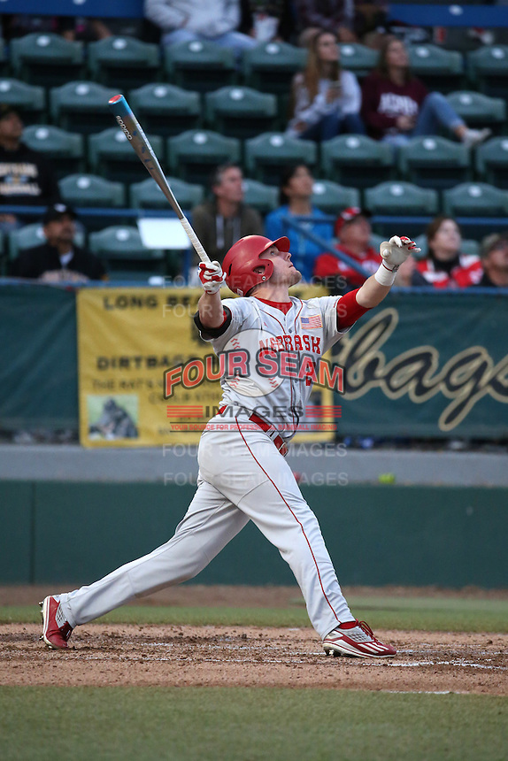 Ryan Boldt (21) of the Nebraska Cornhuskers bats against the Long Beach State Dirtbags in the second game of a doubleheader at Blair Field on March 5, 2016 in Long Beach, California. Long Beach State defeated Nebraska, 3-1. (Larry Goren/Four Seam Images)