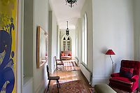 There is a mixture of gothic and contemporary styles in this light corridor