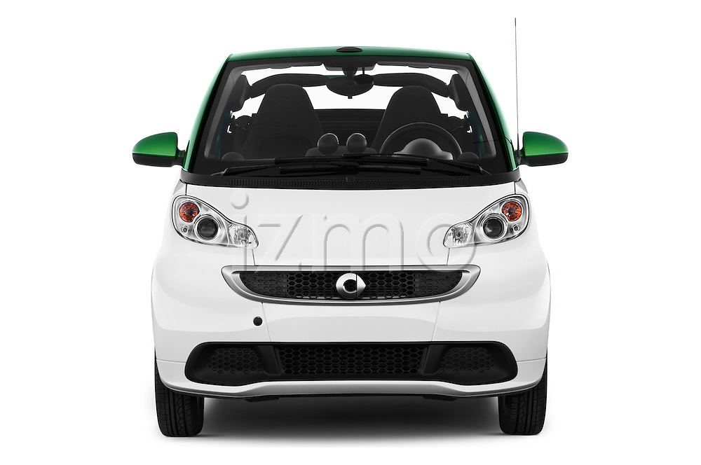 Car photography straight front view of a 2016 Smart fortwo electric 2 Door Convertible Front View