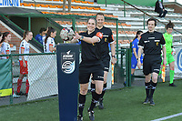 referee Caroline Lanssens with assistant referee Timmy Vande Velde (L) and Benjamin Dewyn (R)  pictured during a female soccer game between SV Zulte - Waregem and KRC Genk Ladies on the 2nd matchday in play off 2 of the 2020 - 2021 season of Belgian Scooore Womens Super League , saturday 17 th of April 2021  in Zulte , Belgium . PHOTO SPORTPIX.BE | SPP | DIRK VUYLSTEKE
