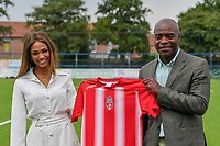 Miss Belgium 2021 Kedist Deltour and team manager Mbo Mpenza of Royal Excelsior Mouscron pictured during a friendly soccer game between KFC Aalbeke Sport and Excelsior Mouscron  during the preparations for the 2021-2022 season , on saturday 3 of July 2021 in Aalbeke , Belgium . PHOTO DIRK VUYLSTEKE | SPORTPIX