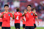 Hwang Heechan of South Korea (R) celebrates after scoring his goal with Hwang Inbeom of South Korea (L) during the AFC Asian Cup UAE 2019 Round of 16 match between South Korea (KOR) and Bahrain (BHR) at Rashid Stadium on 22 January 2019 in Dubai, United Arab Emirates. Photo by Marcio Rodrigo Machado / Power Sport Images