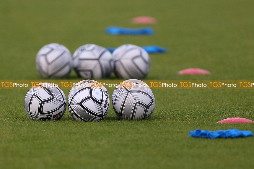 Balls on the pitch ahead of Dagenham & Redbridge vs Weymouth, Vanarama National League Football at the Chigwell Construction Stadium on 14th September 2021