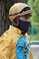15th May 2020, Muenchen-Riem racecourse, Munich, Germany. Flat racing;  Jockey Clement Lecoeuvre wearing protective mask