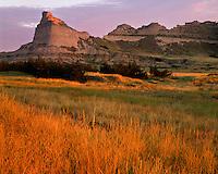 Sunrise light on grasses and sandstone bluffs; Scotts Bluff National Monument, NE