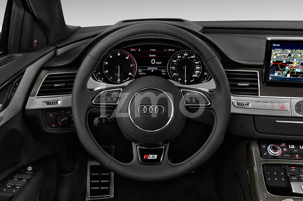 Car pictures of steering wheel view of a 2018 Audi S8 4.0-TFSI-quattro-Tiptronic-Plus  4 Door Sedan