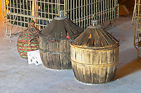 Chateau Rives-Blanques. Limoux. Languedoc. Demijohns with wine in wicker baskets. France. Europe.