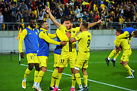 Wellington Phoenix players celebrate Tomer Hemed's goal during the A-League football match between Wellington Phoenix and Western United FC at Sky Stadium in Wellington, New Zealand on Saturday, 22 May 2021. Photo: Dave Lintott / lintottphoto.co.nz