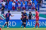 Chanathip Songkrasin of Thailand celebrates scoring the goal with teammates during the AFC Asian Cup UAE 2019 Group A match between Bahrain (BHR) and Thailand (THA) at Al Maktoum Stadium on 10 January 2019 in Dubai, United Arab Emirates. Photo by Marcio Rodrigo Machado / Power Sport Images