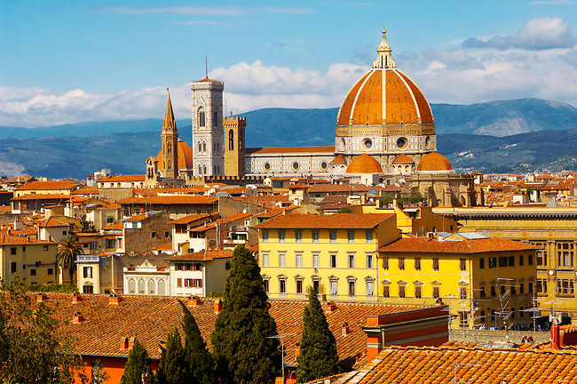 The Dome & Bell Tower over the roof tops - Florence Italy.