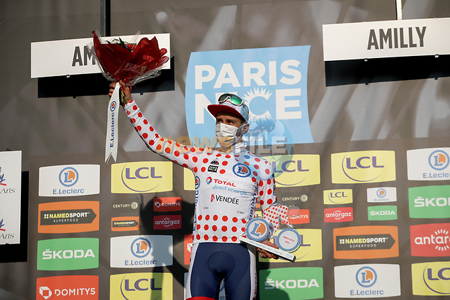 Fabien Doubey (FRA) Total Direct Energie retains the mountains Polka Dot Jersey at the end of Stage 2 of Paris-Nice 2021, running 188km from Oinville-sur-Montcient to Amilly, France. 8th March 2021.<br /> Picture: ASO/Fabien Boukla | Cyclefile<br /> <br /> All photos usage must carry mandatory copyright credit (© Cyclefile | ASO/Fabien Boukla)
