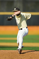 Wake Forest Demon Deacons starting pitcher Matt Pirro (1) delivers a pitch to the plate against the Virginia Cavaliers at Wake Forest Baseball Park on April 6, 2013 in Winston-Salem, North Carolina.  (Brian Westerholt/Four Seam Images)