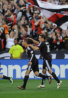 DC United forward Charlie Davies (9) celebrates his second goal of the game with team mate Josh Wolff.  DC United defeated The Columbus Crew 3-1  at the home season opener, at RFK Stadium, Saturday March 19, 2011.