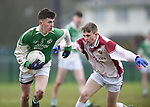 Michael Vaughan of  Ennistymon CBS  in action against Darragh Power of  St Declan's Kilmacthomas during their Munster C Colleges football final at Rathkeale. Photograph by John Kelly.