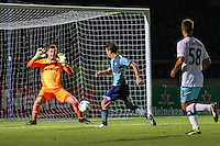 Scott Kashket of Wycombe Wanderers sees his shot saved by Sam Howes of West Ham United U21s during the The Checkatrade Trophy match between Wycombe Wanderers and West Ham United U21 at Adams Park, High Wycombe, England on 4 October 2016. Photo by David Horn.