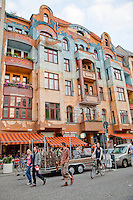 A colourfully painted building in Kreuzberg, a centre for artists and funky shops and restaurants..