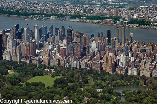 aerial photograph of Central Park, the Upper West Side, Manhattan, New York City, with the Hudson River and New Jersey in the background