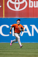 Frederick Keys center fielder Austin Hays (18) tracks down a fly ball during the first game of a doubleheader against the Wilmington Blue Rocks on May 14, 2017 at Daniel S. Frawley Stadium in Wilmington, Delaware.  Wilmington defeated Frederick 10-2.  (Mike Janes/Four Seam Images)