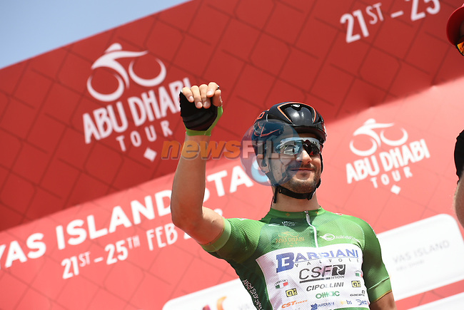 Andrea Guardini (ITA) Bardiani CSF wears the Green Points Jersey at sign on before the start of Stage 2 of the 2018 Abu Dhabi Tour, Yas Island Stage running 154km from Yas Mall to Yas Beach, Abu Dhabi, United Arab Emirates. 22nd February 2018.<br /> Picture: LaPresse/Fabio Ferrari | Cyclefile<br /> <br /> <br /> All photos usage must carry mandatory copyright credit (© Cyclefile | LaPresse/Fabio Ferrari)