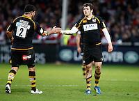 Photo: Richard Lane/Richard Lane Photography. Gloucester Rugby v London Wasps. Aviva Premiership. 26/12/2011. Wasps' Elliot Daly with Rob Webber.