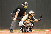 Wake Forest Demon Deacons catcher Matt Martin #4 sets a target as home plate umpire Phelps Prescott looks on during the game against the North Carolina State Wolfpack at Doak Field at Dail Park on March 17, 2012 in Raleigh, North Carolina.  The Wolfpack defeated the Demon Deacons 6-2.  (Brian Westerholt/Four Seam Images)