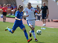20180307 - LARNACA , CYPRUS :  Slovakian Kristina Kosikova (left) pictured protecting the ball for Czech Lucie Vonkova (right)  during a women's soccer game between  Slovakia and the Czech Republic , on Wednesday 7 March 2018 at the GSZ Stadium in Larnaca , Cyprus . This is the final game in a decision for 9 th or 10 th place of the Cyprus Womens Cup , a prestigious women soccer tournament as a preparation on the World Cup 2019 qualification duels. PHOTO SPORTPIX.BE   DAVID CATRY