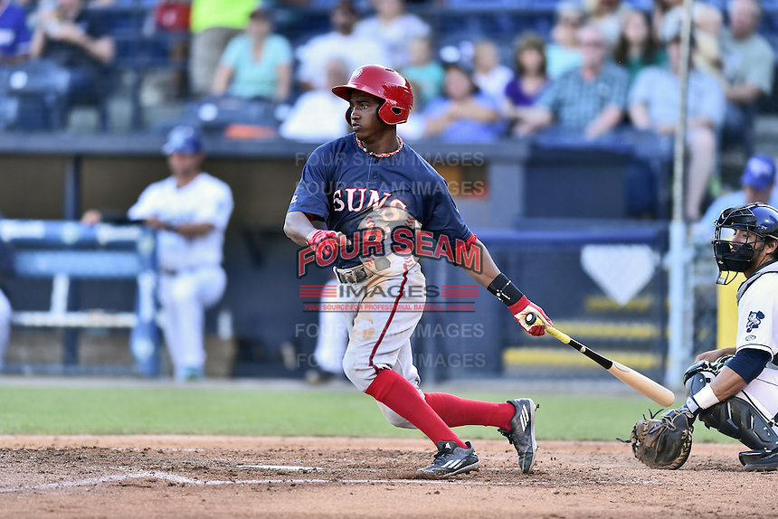 Hagerstown Suns center fielder Victor Robles (16) swings at a pitch during a game against the  Asheville Tourists at McCormick Field on June 7, 2016 in Asheville, North Carolina. The Tourists defeated the Suns 6-5. (Tony Farlow/Four Seam Images)