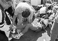 1984, Hilversum, Dutch Open, Melkhuisje, Michiel Schapers krijgt een enorme krampaanval