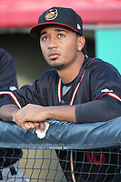 Yoely Bello (16) of the Modesto Nuts before a game against the High Desert Mavericks at Heritage Field on June 3, 2016 in Adelanto, California. Modesto defeated High Desert, 2-1. (Larry Goren/Four Seam Images)
