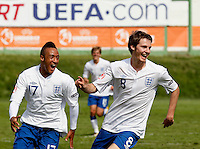Soccer, UEFA U-17.France Vs. England.Nathan Redmond and Nicholas Powell celebrate scoring.Indjija, 03.05.2011..foto: Srdjan Stevanovic