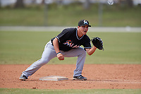 Miami Marlins second baseman Mike Garzillo (26) waits to receive a throw during a minor league Spring Training game against the New York Mets on March 26, 2017 at the Roger Dean Stadium Complex in Jupiter, Florida.  (Mike Janes/Four Seam Images)
